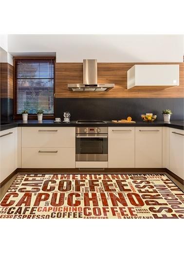 Halı Sarı Renkli Kahve Figürlü  Modern Mutfak Halıları 80X150Cm Renkli